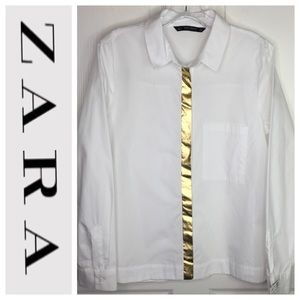 Zara Basic White Button Up Shirt Gold Foil Stripe